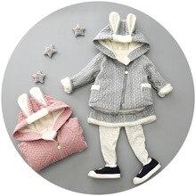 2 Цветов Осень девушки одежда наборы уха шляпа девушка одежды наборы длинный рукав пальто и брюки леггинсы девушка набор школа подростковая одежда