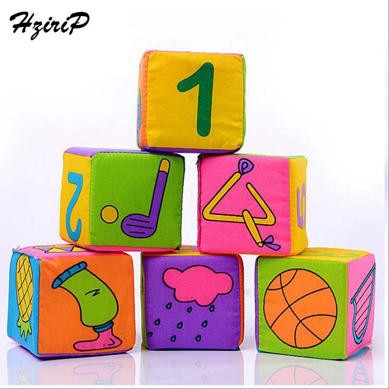 HziriP 7CM New Baby Cloth Block Toy High Quality Plush Square Building Block Early Educational Toys Baby Rattles 6 Pieces Sets
