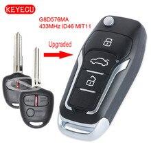 Keyecu アップグレードフリップリモート車のキー 433MHz ID46 チップ三菱ランサー CJ 2007 2013 FCC ID: OUCG8D 576M A