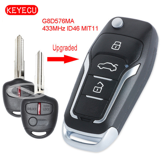 Keyecu Nâng Cấp Flip Remote Chìa Khóa Xe Ô Tô Fob 433 Mhz ID46 Chip Cho Mitsubishi Lancer CJ 2007 2013 FCC ID: OUCG8D 576M A