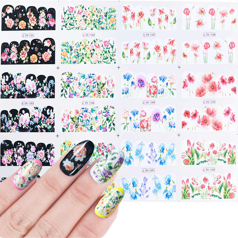 12 Floral Design Water Transfer Stickers For Nails Blooming Daisy Flower Sliders Manicure Strips Decals Decor JIBN1081-1092