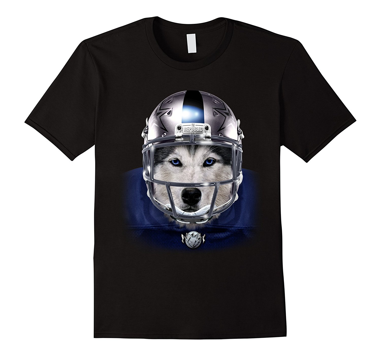2018 Hot Sale 100% cotton Siberian Husky American Footballs Silver Helmet Dog T-Shirt Tee shirt