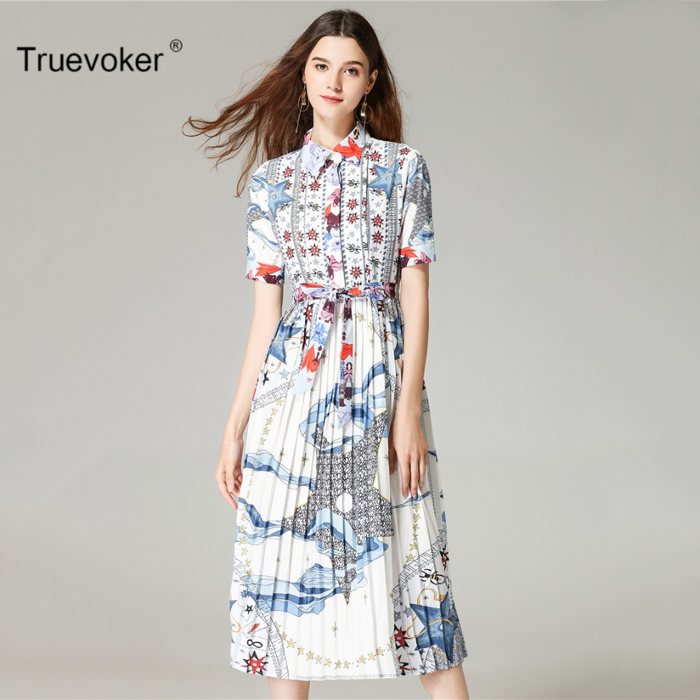 Truevoker Designer Summer Fashion Dress Womens Noble Short Sleeve Shirt Collar Printed Mid Calf Draped Vestido
