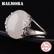 BALMORA 100% Real 925 Sterling Silver Calcedônia Flor Inlay Anéis Redimensionáveis para As Mulheres Do Vintage Da Moda Jóias Anillos TRS22301(China)