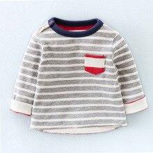 Cute stripe Children's T-Shirt 2016 Autumn 100% pure Cotton Kid's Render Shirt Baby Girls boys Clothing Soft full Sleeve Tops