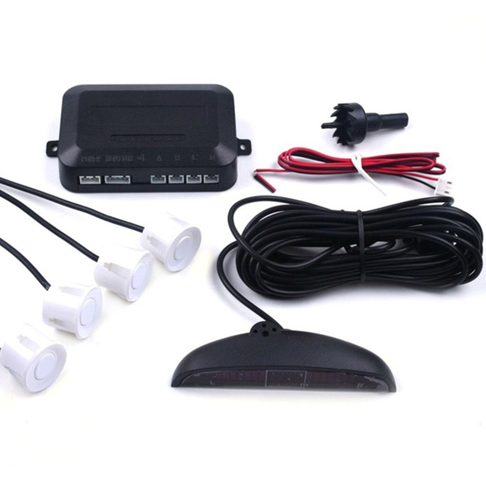 Автомобильный парковочный сенсор обратный резервный радар ЖК-дисплей 12 В 4 сенсор s 22 мм зуммер авто детектор системы комплект для всех автомобилей - Название цвета: white