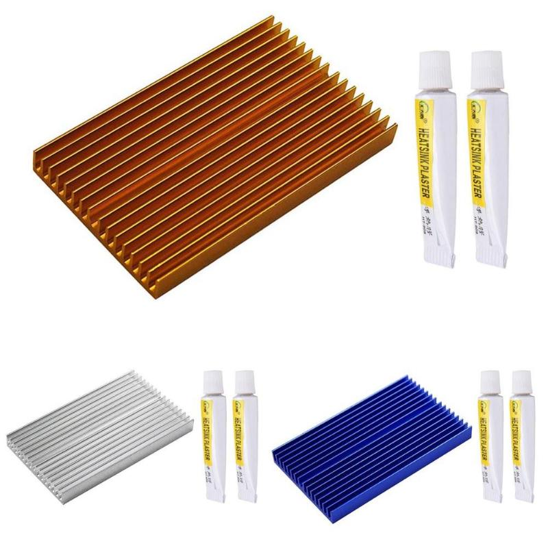 Aluminum Radiator Heat Sink PCB Heatsink Cooler with 2 Thermal Conductive Plaster Adhesive Cooling Paste 100*60*10mm 10 pcs black aluminum cooler radiator heat sink heatsink 20mm x 20mm x 10mm
