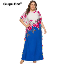 GuyuEra African Woman Dress Plus Size Women's Round Neck Bat Sleeve Ball Lace Fashion Contrast Print Dress plus contrast lace teddy