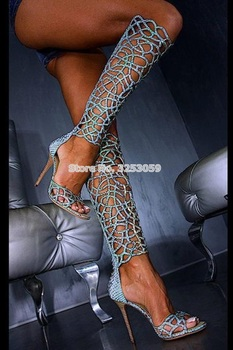 ALMUDENA Turquoise Snakeskin Bling Bling Crystal Sandal Boots Knee High Thin High Heels Gladiator Sandals Shining Cage Boots