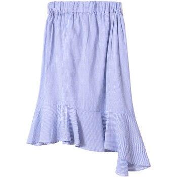 Mishow A-line Trumpet Striped ruffles Bow women skirt 2019 summer elegent cotton skirt empire knee-length  MX17B1820 2