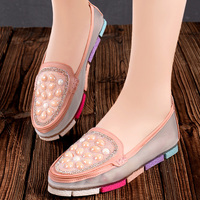 High Quality Luxury Rhinestones Handmade Sewing WoMen Flats Breathable Mesh Summer Women Loafers Shoes Colorful Outsole