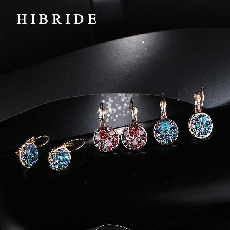 HIBRIDE อินเทรนด์ต่างหู Hoop สีแดง/Blue Cubic Zirconia สีต่างหูงานแต่งงานสำหรับสุภาพสตรีของขวัญ E-31