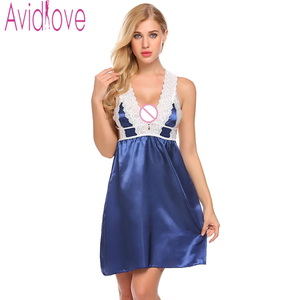 Avidlove Sexy Lace Satin Nightgown Beckless Babydoll Nighty Women Summer Silk Sleepwear Chemise Night Dress Plus Size Nightshirt