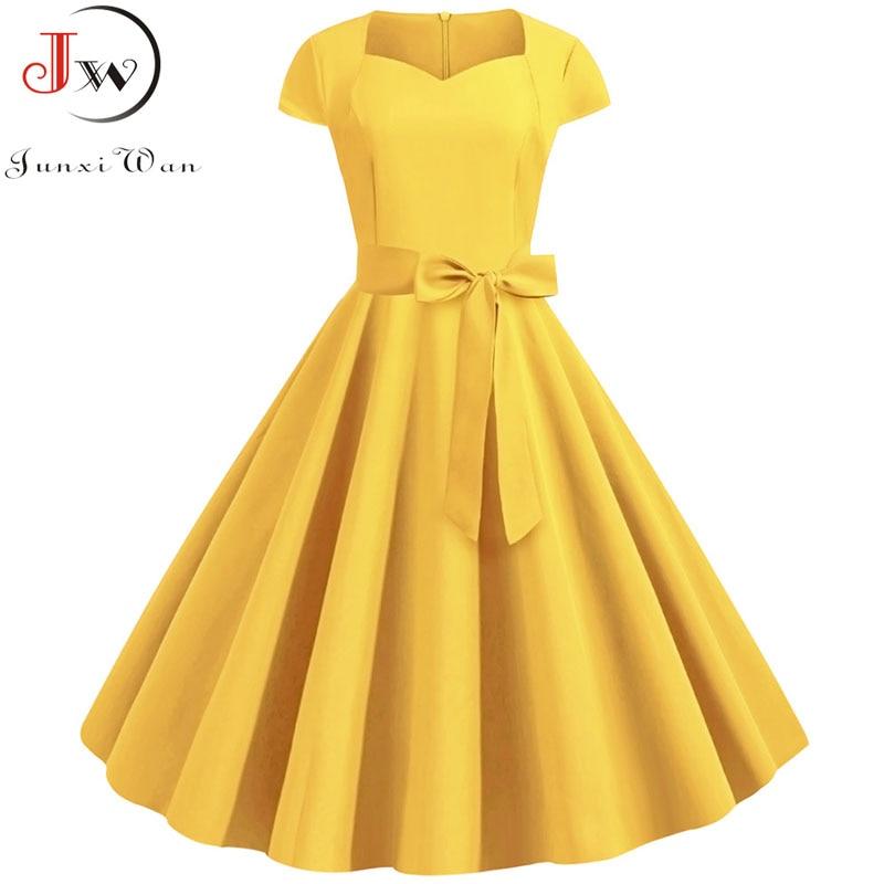 Женское винтажное платье, платье с коротким рукавом и квадратным воротником, элегантные офисные вечерние платья средней длины с поясом, лето 2019|Платья|   | АлиЭкспресс