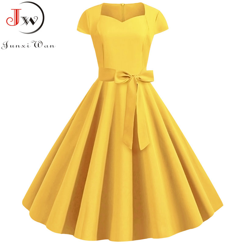 2019 Summer Solid Yellow Color 50s 60s Vintage Dress Women Short Sleeve Square Collar Elegant Office Party Midi Dresses Belt