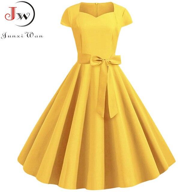ฤดูร้อนสีเหลืองสี50S 60S Vintageชุดสตรีแขนสั้นสแควร์Elegant Office PartyชุดMidiเข็มขัด