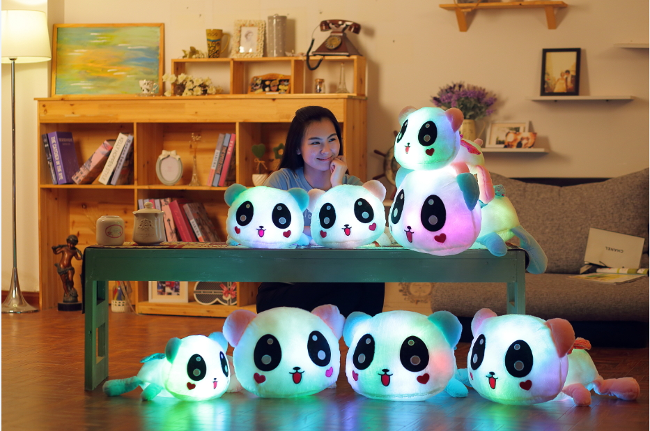 35cm 14 Luminous Stuffed Panda Toy LED Light Up Plush Doll Glow Pillow Music Playing Auto Color Rotation Illuminated Cushion