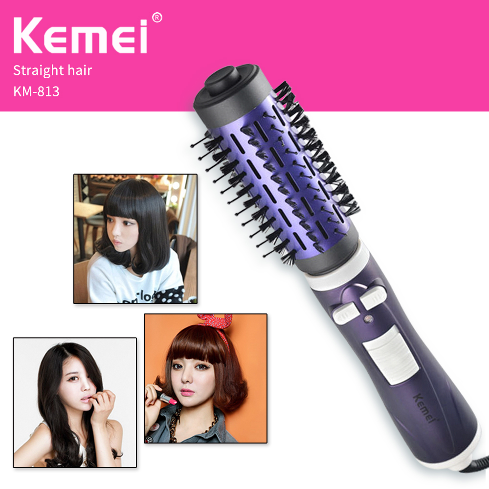 KEMEI Multifunctional Anti-scald Fast Hair Straightener Comb, Hair Curler Brush Electric Straightening Irons Comb For Various 2 in 1 portable multifunctional anti scald fast hair straightener comb hair curler brush electric straightening irons comb