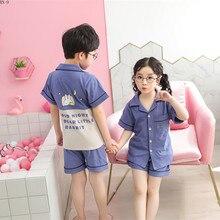 Купить с кэшбэком 2019 New Summer Short-sleeved Children's Pure Cotton Pajamas Cartoon Home Wear Boys Pajamas Suit Girls Sleepwear Kids Pijama