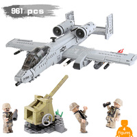 961 PCS battlefield A10 fighter Assault Missile vehicle confrontation with Legoinglys military Building Blocks Figures mini toys
