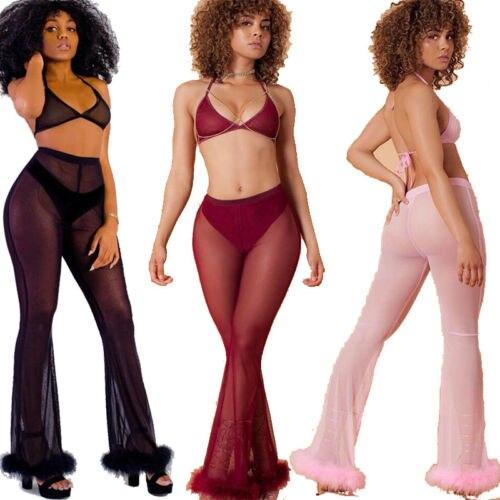 Fashion Women's Sheer High Waist Casual   Pants   Wide Leg Long Trousers Mesh   Pants