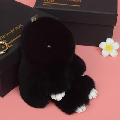 18cm High Quality Play Dead Rabbit Real fur pom pom ball Bunny Keychain Fashion key chain holder Rabbit Toy Doll Hanging Pendant