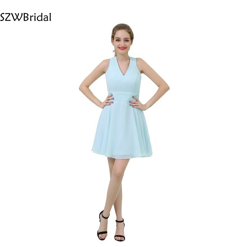 Elegant   cocktail     dresses   V Neck Chiffon jurken Cheap   cocktail     dress   2019 Vestido de festa curto coctail   dress