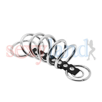 ( 7 Rings Set )Time Delay Rings Stainless Steel + Leather, Male Penis Cock Rings
