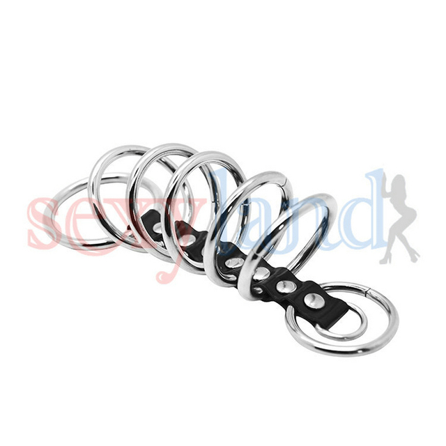 ( 7 Rings Set )Time Delay Rings Stainless Steel + Leather, Male Penis Cock Rings, Sex Toys Erotic Sex Products