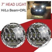 2pcs 7 Inch 75W Led Headlights Hi Lo Beam 6000K Round LED White Angel Eye Daymaker