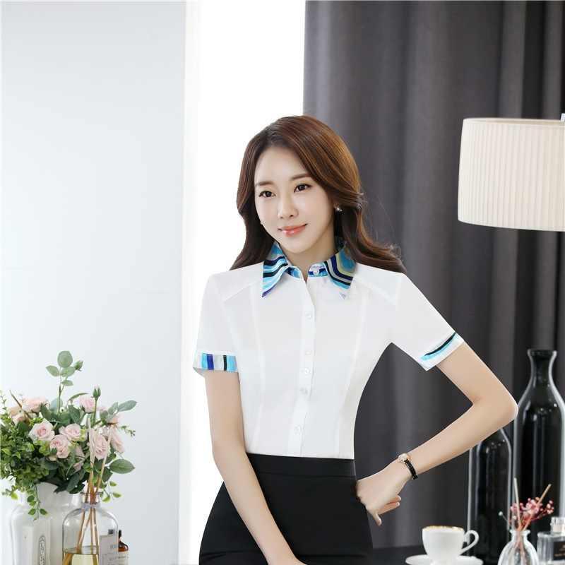 Yaz Kısa Kollu Bluz Gömlek Üniforma Stilleri Bayanlar Ofis Iş Elbisesi Güzellik Salonu Bluz Gömlek Kadın Giyim Giyim