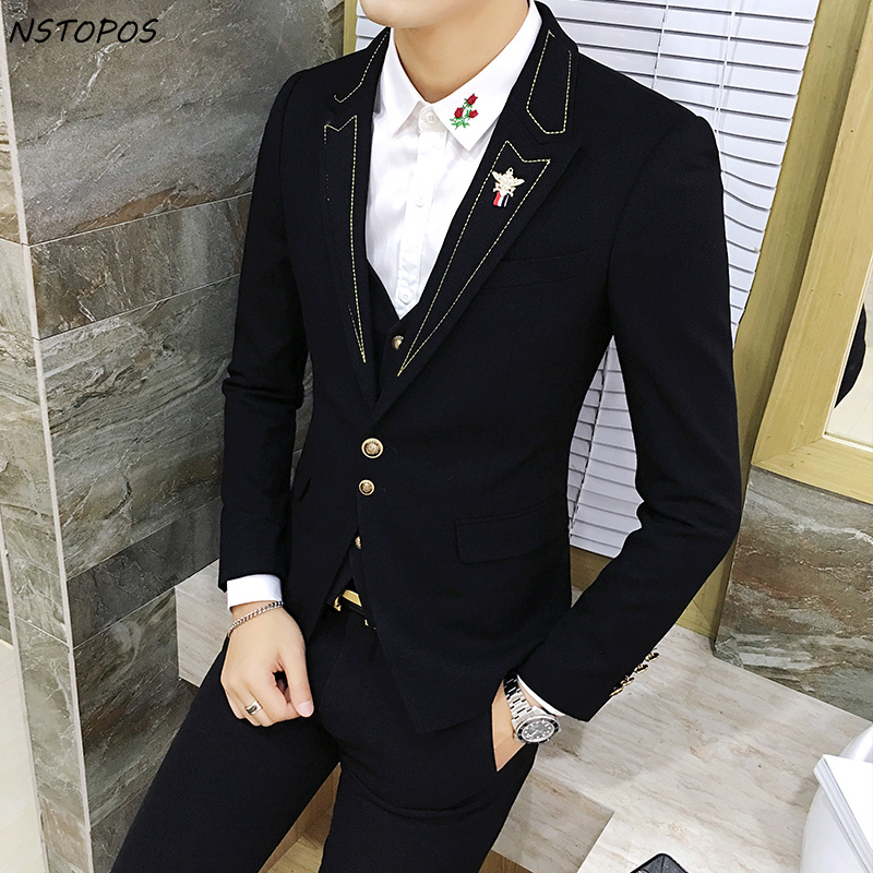 Black With Gold Suit Slim Fit Prom Homme Men Costume