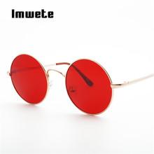 Imwete Vintage Round Sunglasses Men Women Fashion Metal Big Red Sun glasses for Womens Mens Retro