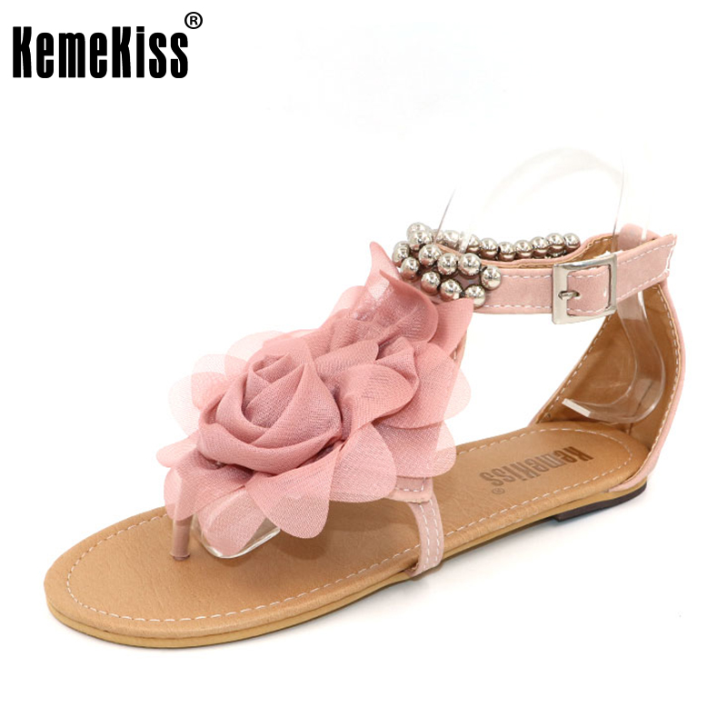 KemeKiss gladiator sandals for women beaded summer flower flat heels flip flops women's shoes T-straps sandals size 35-43 WC0118 big size 34 44 hot 2016 gladiator sandals for women bohemia beaded summer rhinestone flower flat heels flip flops sandals shoes