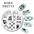 Born pretty 5.5 см Круглый Ногтей Штамп Шаблон Симпотичные Кошки Дизайн Плиты Изображения BP-102