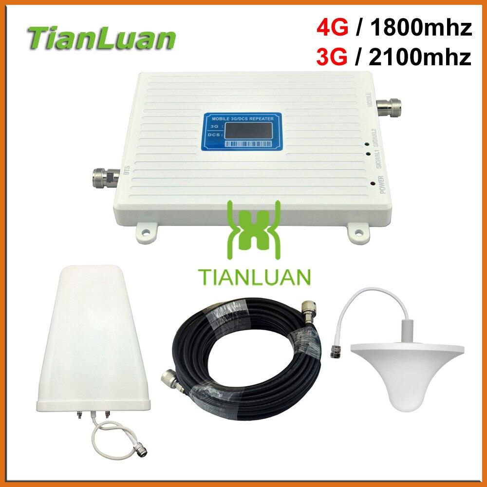 TianLuan W-CDMA 3G 2100 mhz DCS 4G LTE 1800 mhz amplificateur de Signal de téléphone portable répéteur 2G 3G 4G avec antenne périodique plafond/journal