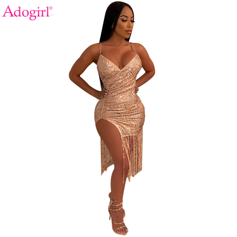 Adogirl Women Sexy Tassel Sequins Night Club Dress Deep V Neck Spaghetti Straps Bodycon Midi Party Dresses Comfortable Vestidos in Dresses from Women 39 s Clothing