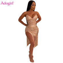 Adogirl Women Sexy Tassel Sequins Night Club Dress Deep V Neck Spaghetti Straps Bodycon Midi Party Dresses Comfortable Vestidos