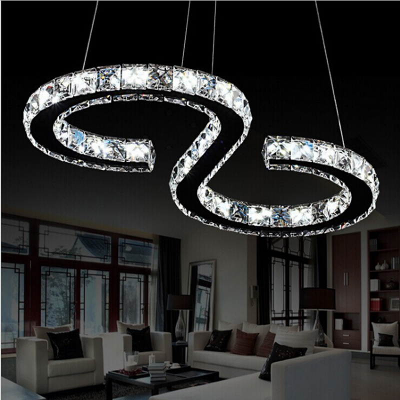 Modern Crystal Pendant Light LED Crystal Pendant Lamp Long Hanging Lamp Fixture For Dining room Bedroom Kitchen Island parlor