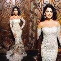 Gorgeous Sirena Vestidos de Baile 2016 de Lujo Con Cuentas de Lentejuelas Organza Opacidad Largo vestido de Noche Vestidos Formales
