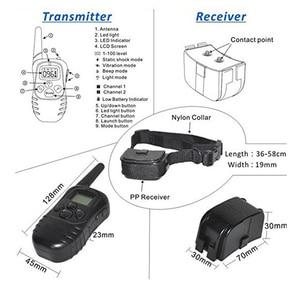 Image 4 - 300м дистанционный перезаряжаемый и водонепроницаемый электронный ошейник для дрессировки собак с ЖК дисплеем для Ошейников для собак с защитой от лай 998DR