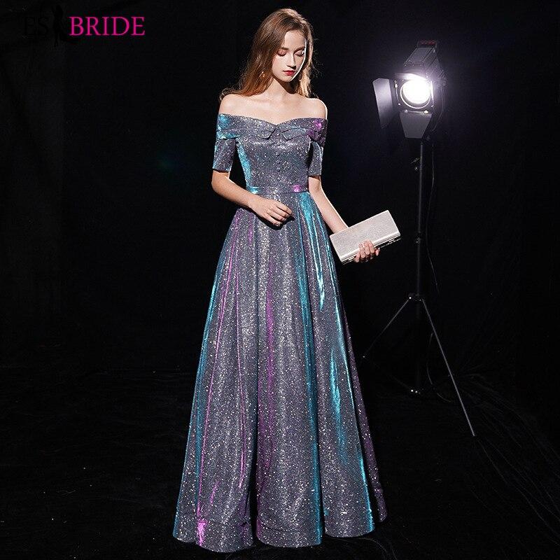 Robe de soirée brillante col bateau longues robes de soirée élégantes robes de soirée pour femmes élégantes 2019 robes d'occasion spéciale ES1966 - 2
