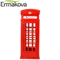 ERMAKOVA Retro European Street Telephone Booth Model Vintage England Phone Statue Antique Prop Home Shop Bar Wedding Decor