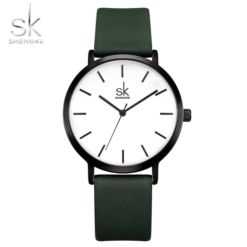 Shengke Fashion Women Watch Brand Luxury Ladies Casual Dress Leather Bracelet Clock Female Gift Zegarek Damski Feminino Montre