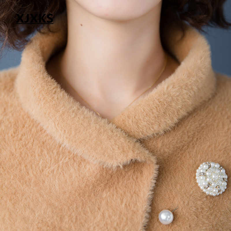 Xjxks 2019 가을, 겨울 카디건 여성 두꺼운 솔리드 하프 슬리브 느슨한 코트 여성 따뜻한 소프트 캐주얼 여성 스웨터