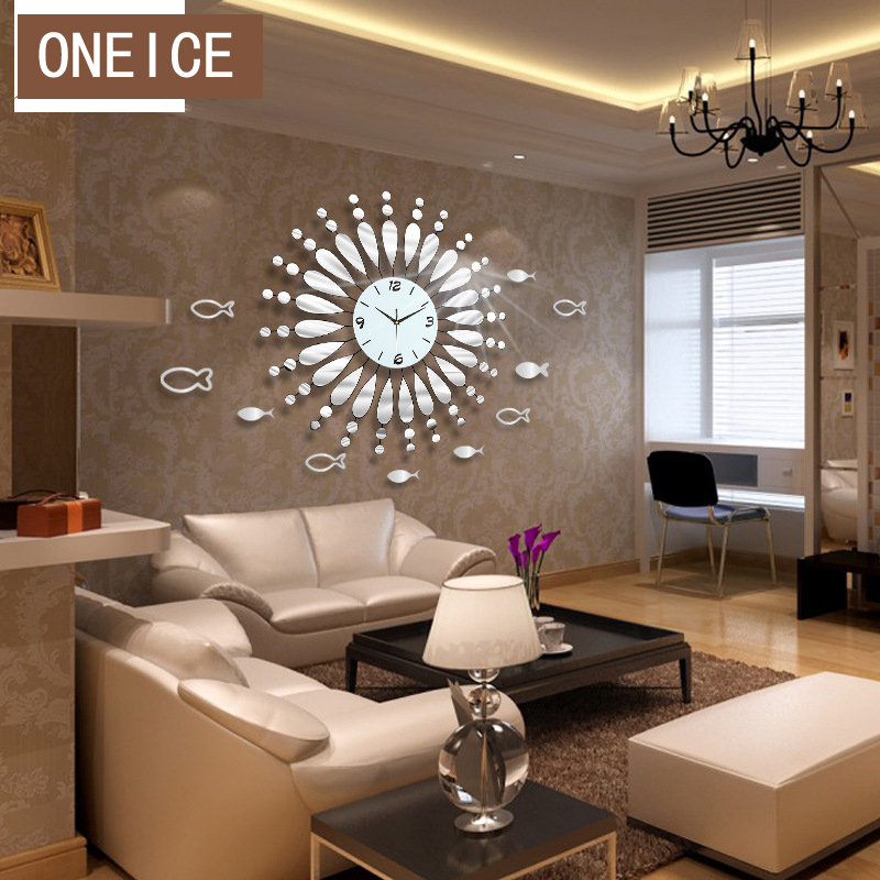 free shipping creative mirror shine living room bedroom watch clock large decorative wall clocks. Black Bedroom Furniture Sets. Home Design Ideas