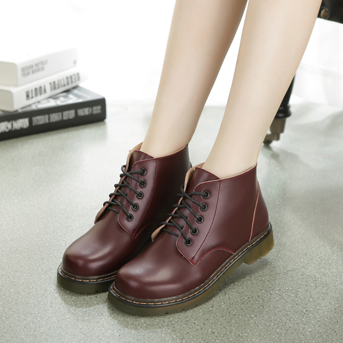 ФОТО Hot Selling Motorcycle Ankle Boots Leather 2016 Autumn and Winter Casual Shoes for Women Motorcycle Boots Lace Up Wine Red Black