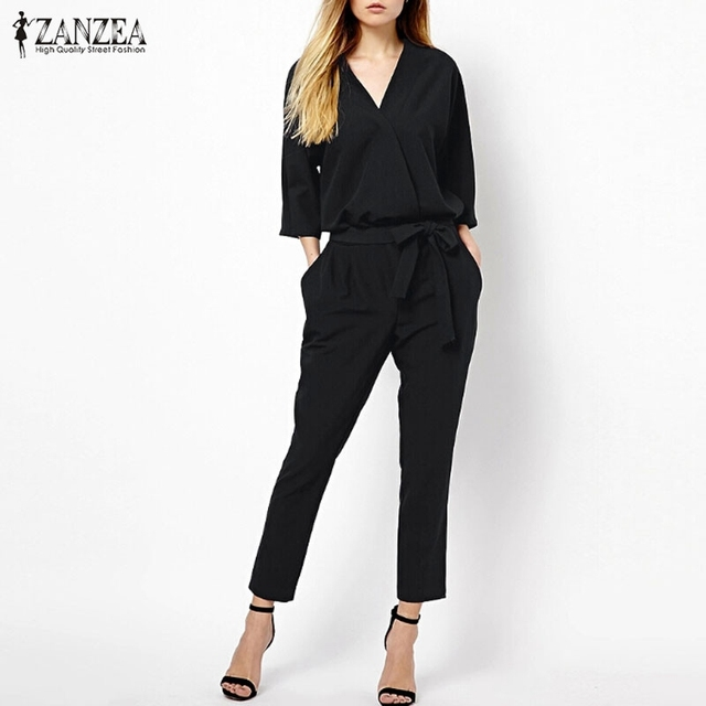 New Arrival Women Jumpsuits 2017 Spring Autumn Bodysuit Half Sleeve V Neck Casual Elegant Ladies Long Office OL Rompers Overalls