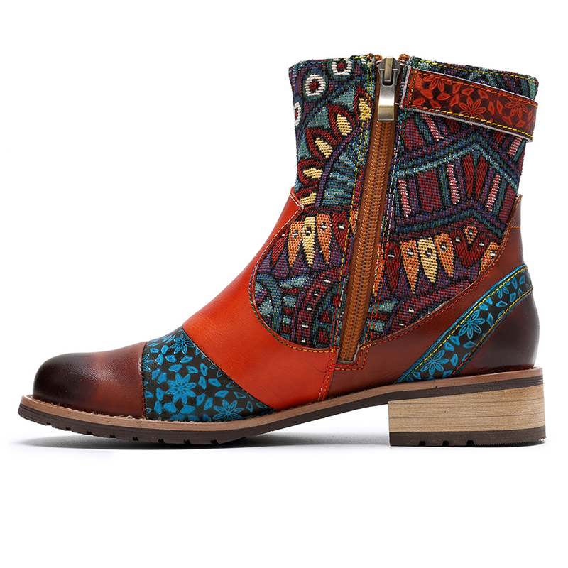 BuonoScarpe النساء حذاء من الجلد جلد طبيعي الشرابة أحذية بوت قصيرة جولة اصبع القدم حزام الرجعية العرقية أحذية الخياطة الزهور شيك الجوارب-في أحذية الكاحل من أحذية على  مجموعة 2