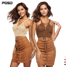 PGSD Sexy vest Bandage deep V sun-top knitting Navel waistcoat Bohemia Sling Beach Backless Bra Vest Bustier Crop Tops Women